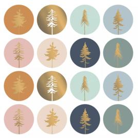 Stickers - Kerst - Lovely Trees - per 8 stuks