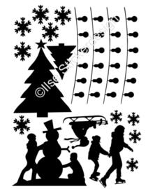 Raamstickers - aanvulling Sneeuwpret / Kerst - herbruikbaar - wit of zwart