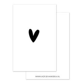 Minikaartje - Hartje - 🖤 - wit