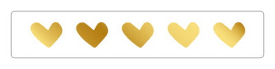 Stickers - Hearts - lang goudfolie - per 10 stuks