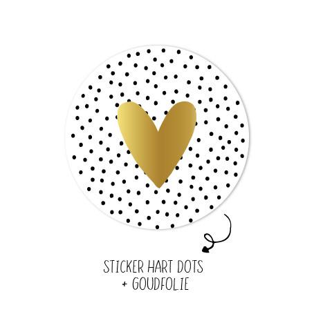 Stickers - Hart Dots Goud - per 10 stuks