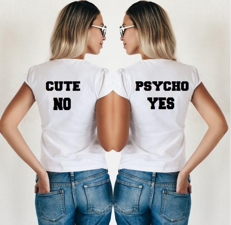 Twinning T-shirt set Cute + psycho (2st)