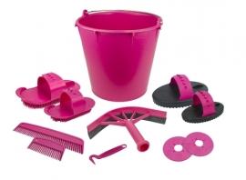 Poetsset van 10 items in een emmer - Pink