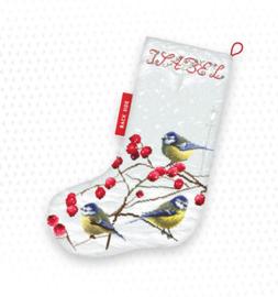 Borduurpakket Blue tits Stocking - Leti Stitch    leti-0949