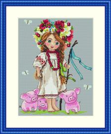 Borduurpakket Shepherd Girl - Merejka    mer-k043