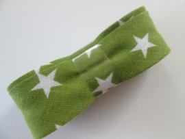 Bosje Biaisband met sterren 20 mm / groen met wit