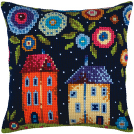 Kussen borduurpakket Bloomy street - Collection d'Art    cda-5347