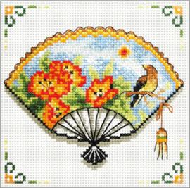 Voorbedrukt borduurpakket Nasturtium Fan - Needleart World    nw-nc140-027