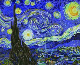 Voorbedrukt borduurpakket Starry Night (apres Van Gogh) - Needleart World    nw-nc650-040