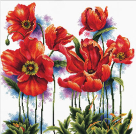 Voorbedrukt borduurpakket Lovely Poppies - Needleart World    nw-nc640-069