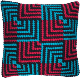 Kussen borduurpakket Blue & Red Bargello - Needleart World  nw-lh03-013