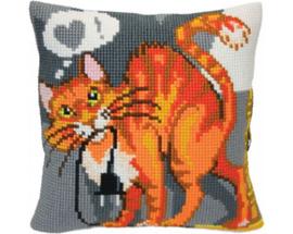 Kussen borduurpakket Sly Cat - Collection d'Art   cda-5406
