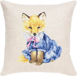 Borduurpakket Pillow Fox in Dress - Luca-S    ls-pb176