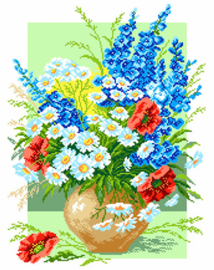 Voorbedrukt Aida Delphinium And Ox-Eye Daisy - Matryonin Posad    mp-0679