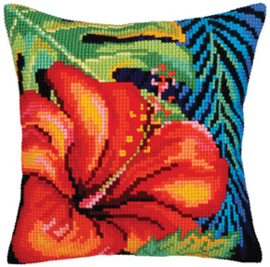 Kussen borduurpakket Hibiscus Flower - Collection d'Art    cda-5360