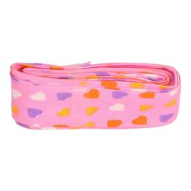 Bosje biaisband met hartjes 20 mm / licht roze met hartjes