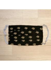Zwart met goud takje - mondkapjes van katoen / wasbaar en hergebruik