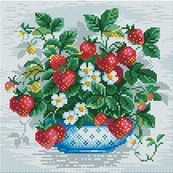 Diamond Mosaic Basket of Strawberries - RIOLIS    ri-am0008