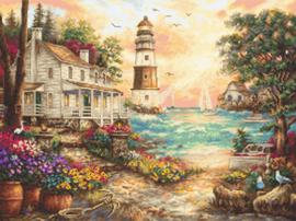 Borduurpakket Cottage by the Sea - Leti Stitch    leti-0962