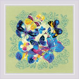 Borduurpakket Bright Butterflies - RIOLIS   ri-1958