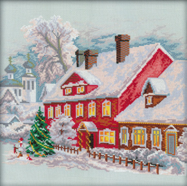 Borduurpakket Christmas house - RTO    rto-m00088