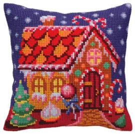 Kussen borduurpakket Gingerbread Lodge - Collection d'Art    cda-5391