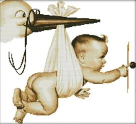 Cross Stitch / Flying baby