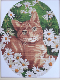 Cross Stitch / Cat in the flowers