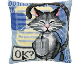 Kussen borduurpakket Cat and Mouse - Collection d'Art  cda-5404