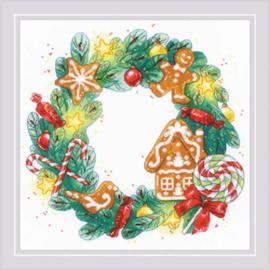 Borduurpakket Gingerbread Wreath - RIOLIS    ri-1910