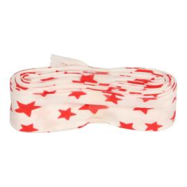 Bosje Biaisband met sterren 20 mm / wit met rood