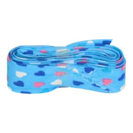 Bosje biaisband met hartjes 20 mm / blauw met hartjes