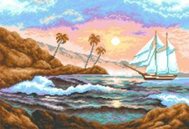 Voorbedrukt Aida White Yacht - Matryonin Posad    mp-0528