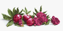 Borduurpakket Peonies and Red Apples - Luca-S    ls-ba2357