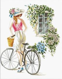 Voorbedrukt borduurpakket Bicycle Girl - Needleart World    nw-nc640-078