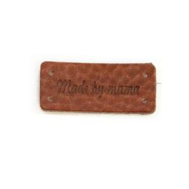 Leren label / Made by Mama / 3,5 cm bij 1,5 cm