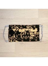 Zwart met gouden bloem - mondkapjes van katoen / wasbaar en hergebruik