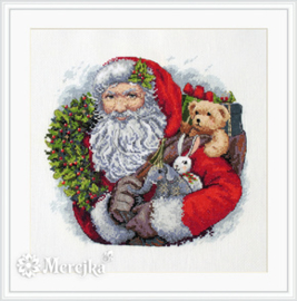 Borduurpakket Santa with Wreath - Merejka    mer-k133