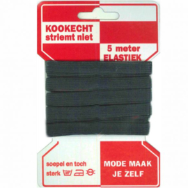 Rode Kaart Elastiek Directoire zwart / 10mm / 5 meter per kaartje