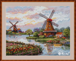 Borduurpakket Dutch Windmills - Merejka    mer-k167