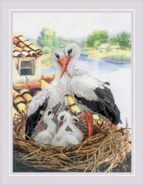 Borduurpakket Stork Family - RIOLIS   ri-pt0088