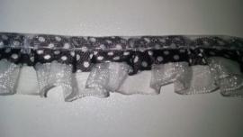 Geplooid  Zwart randje met Tule en stipjes  18 mm breed