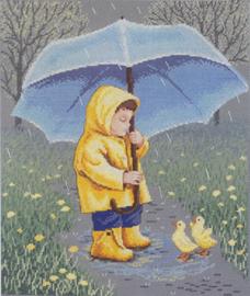 Borduurpakket Rainy Day Friends - Janlynn    jan-015-0241