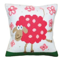 Kussen borduurpakket Cheerful Lamb - Collection d'Art    cda-5399