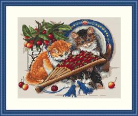Borduurpakket Kittens & Cherries - Merejka    mer-k068