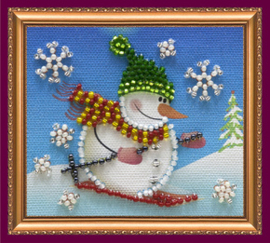 Kralen borduurpakket Snowman - 2 - Abris Art    aa-ama-043