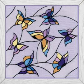 Borduurpakket Cushion/Pannel Stained Glass Window - Butterflies - RIOLIS    ri-1625