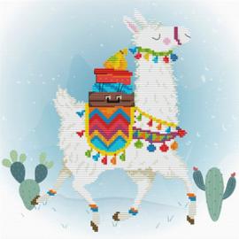Voorbedrukt borduurpakket Holiday Lama - Needleart World    nw-nc450-043