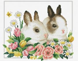 Voorbedrukt borduurpakket Spring Bunnies - Needleart World    nw-nc440-102