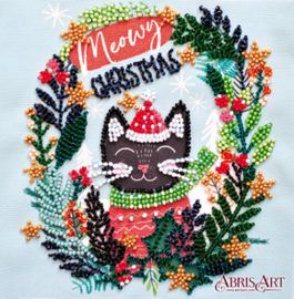 Kralen borduurpakket Meow Christmas - Abris Art    aa-am-224